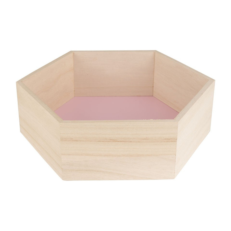 Wandkastje 6 kantig medium roze