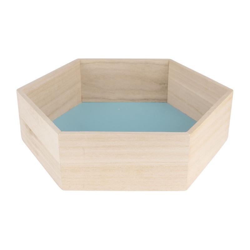 Wandkastje 6 kantig groot blauw