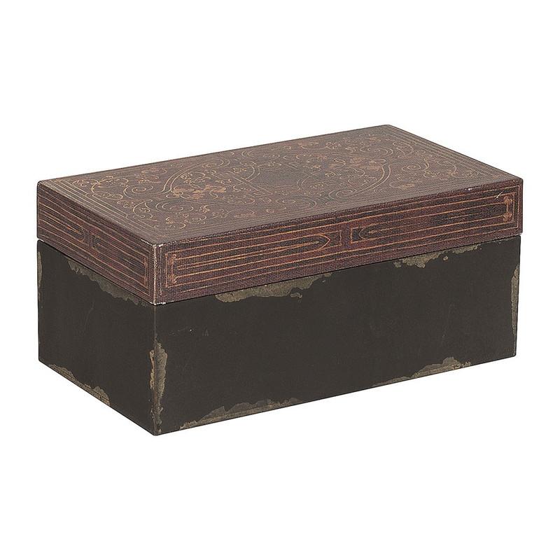 Opbergkistje grafisch - zwart/bruin - 18x10 cm