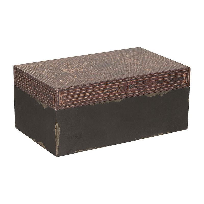 Opbergkistje grafisch - zwart/bruin - 14x23x10 cm