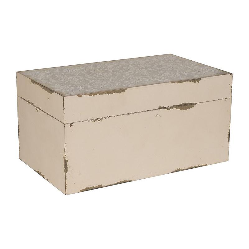 Opbergkistje grafisch - wit/grijs - 18x30x15 cm