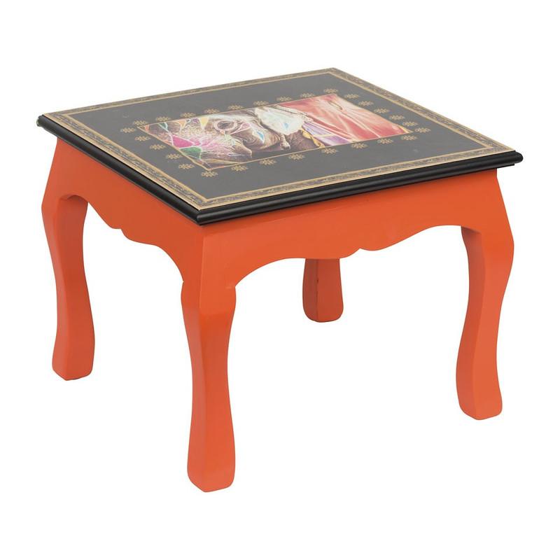Bijzettafeltje wild life - 34x34x27 cm – oranje