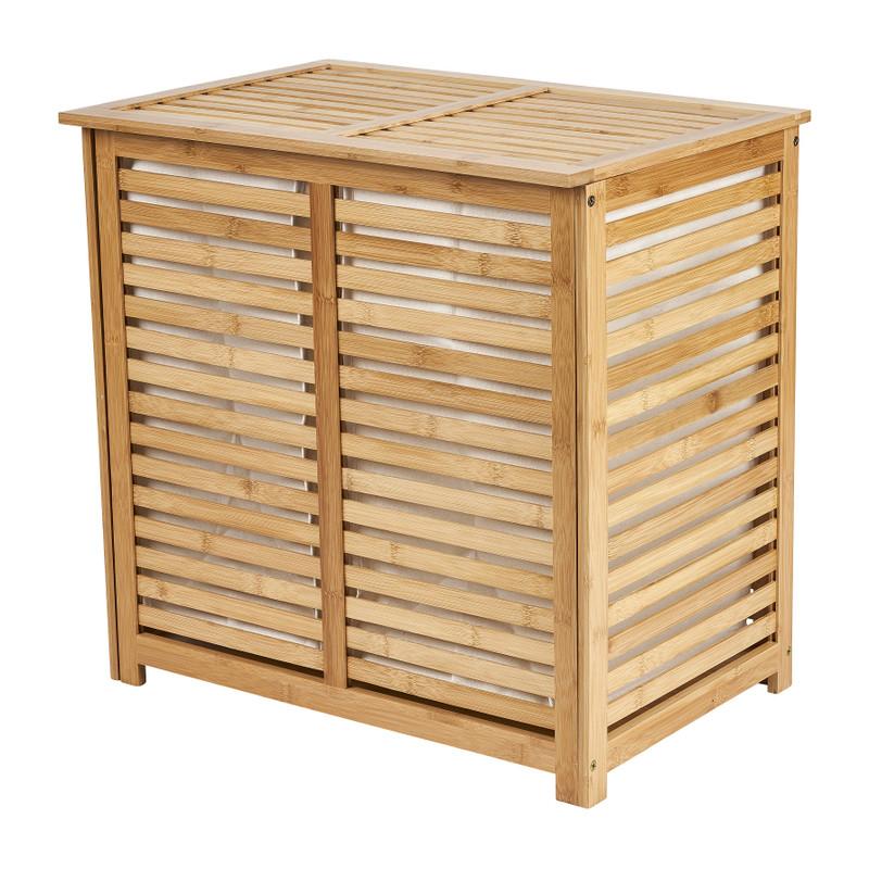 Wasmand bamboe dubbele mand - 60x40x58 cm