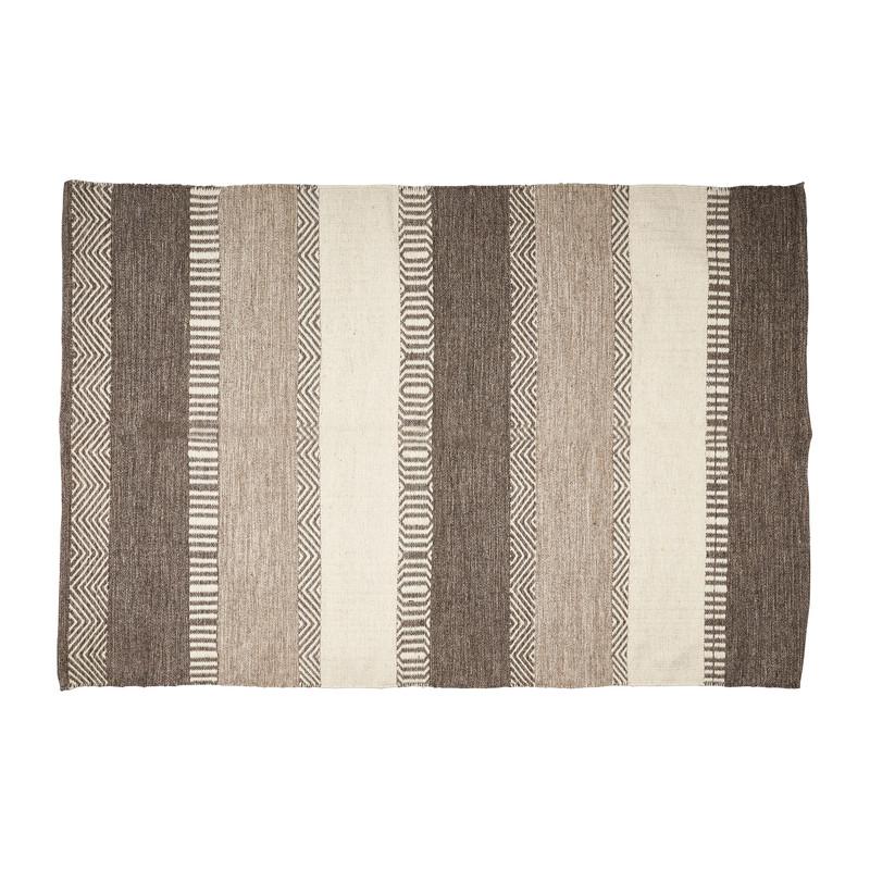 Vloerkleed wol - grijs/naturel - 180x120 cm