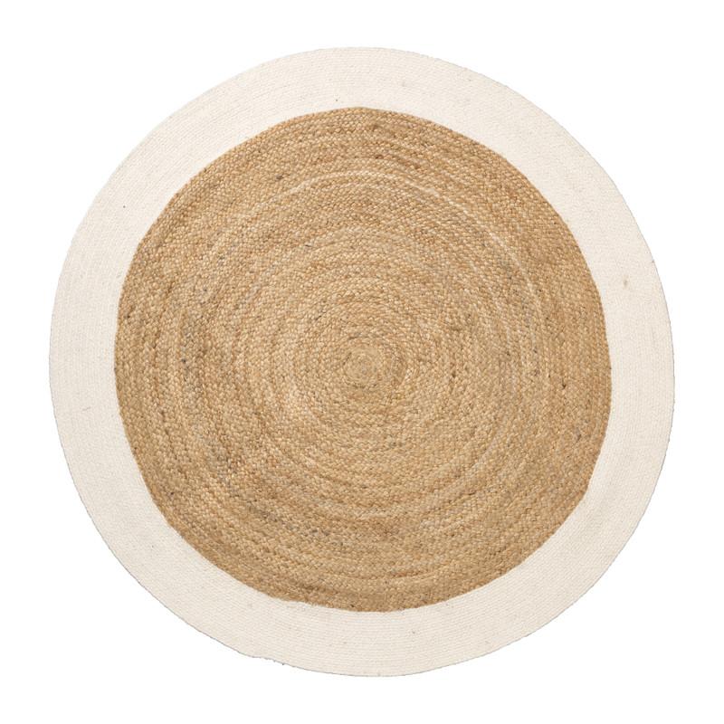 Vloerkleed met rand - wit - ⌀120 cm