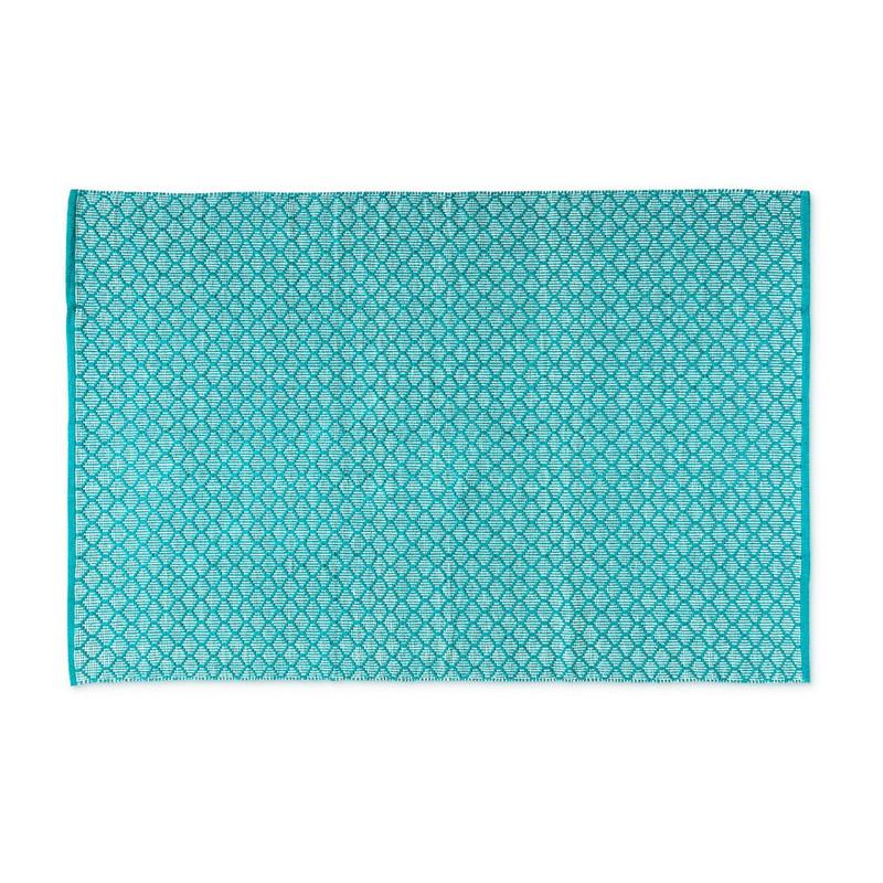 Vloerkleed turquoise/wit - 120x180 cm