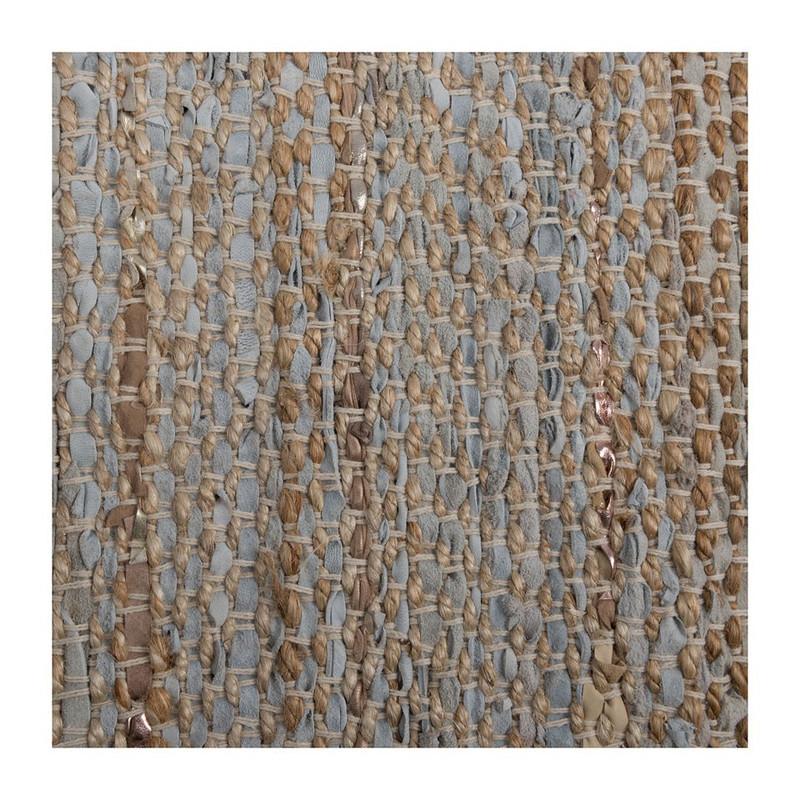 Vloerkleed leer/jute - 60x90 cm - beige/grijs
