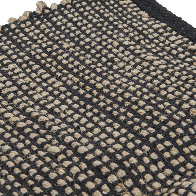 Vloerkleed jute - 120x180 cm - zwart/beige