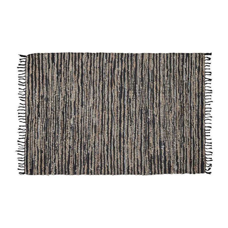 Vloerkleed recycle leer - 120x180 cm - zwart/beige/zilver