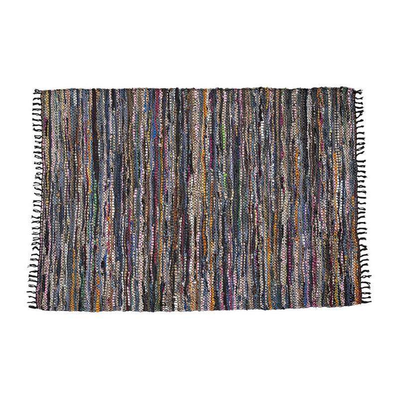Vloerkleed recycle leer - 120x180 cm - zwart/multicolor/zilver
