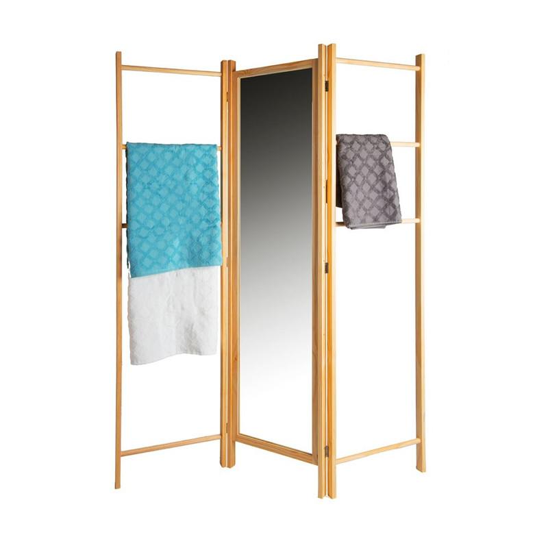 Kamerscherm met spiegel / kledingrek