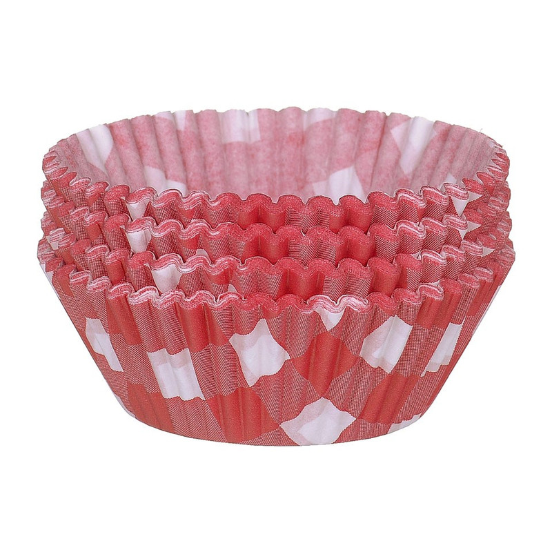Cupcakevormpjes ruitjes rood 100 stuks
