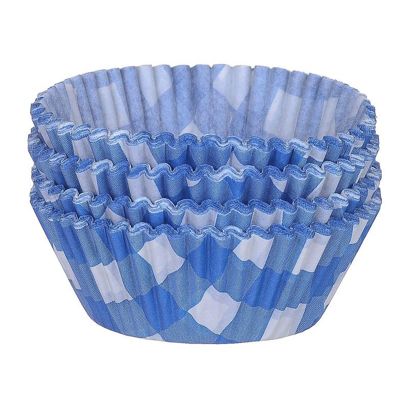 Cupcakevormpjes ruitjes blauw 100 stuks
