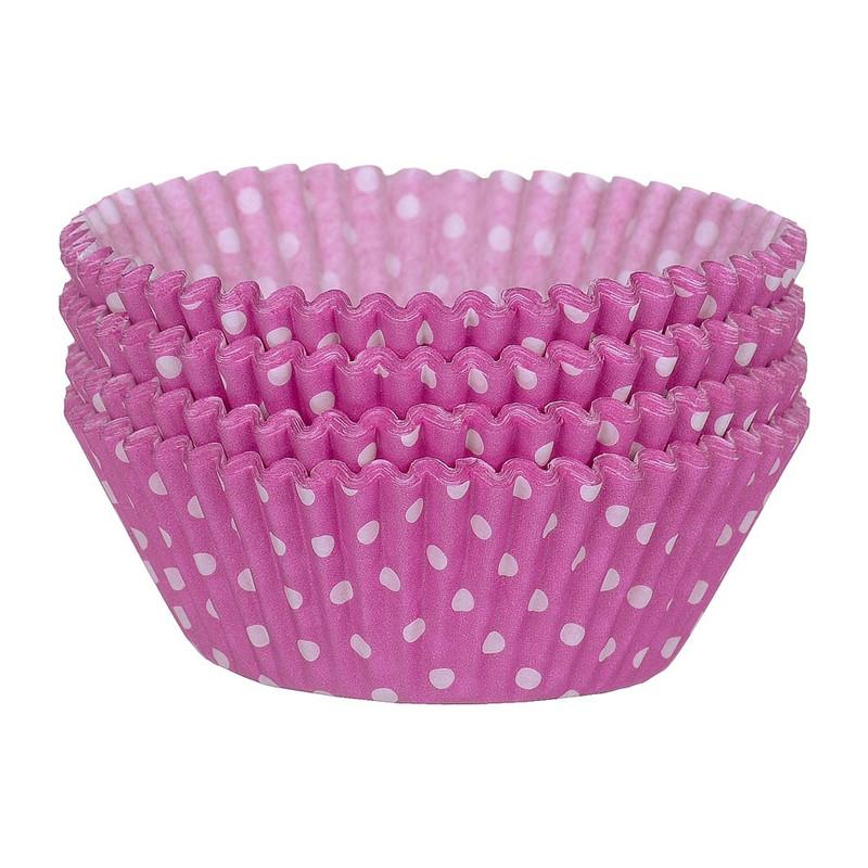Cupcakevormpjes stipjes roze 100 stuks