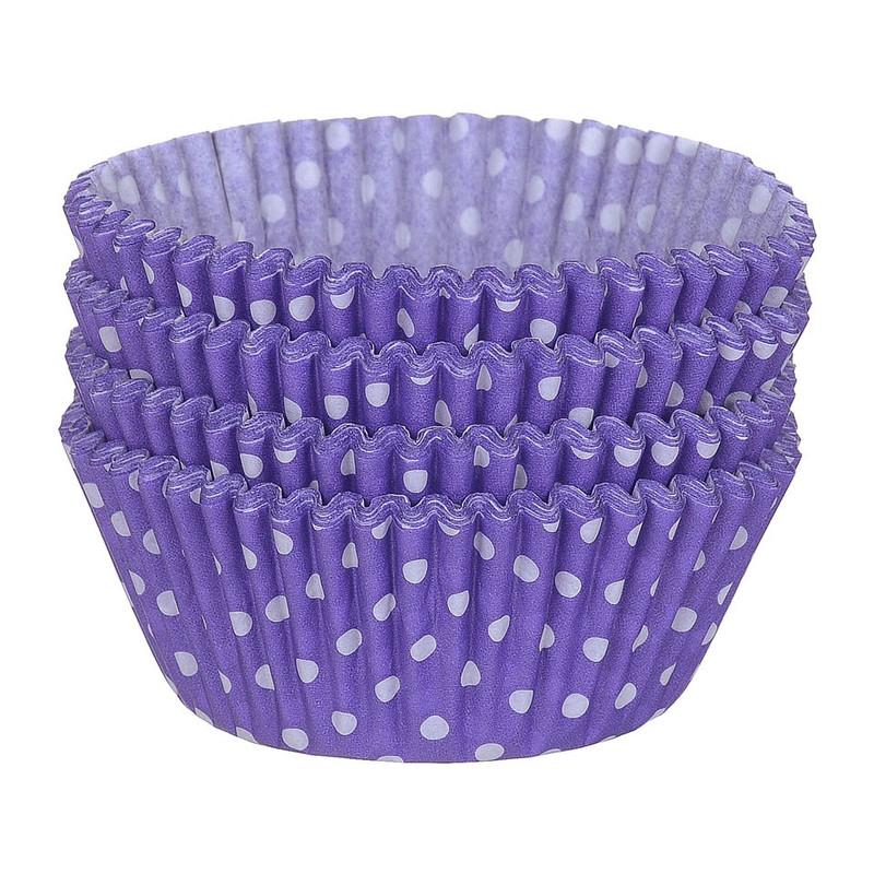 Cupcakevormpjes stipjes paars 100 stuks