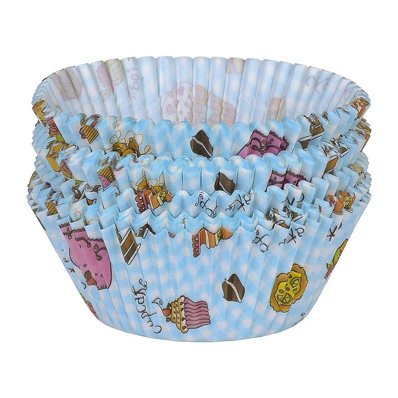 Cupcakevormpjes taart blauw 100 stuks
