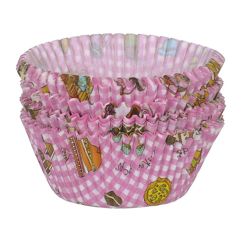 Cupcakevormpjes taart roze 100 stuks