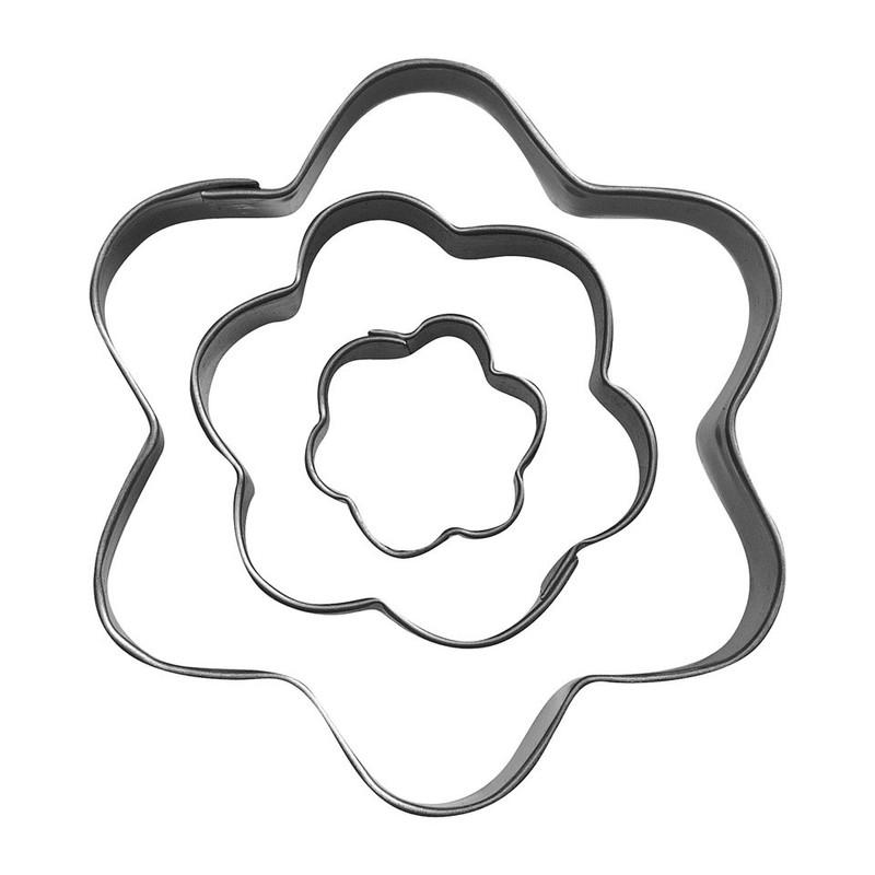 Uitsteekvormpjes RVS bloem set van 3