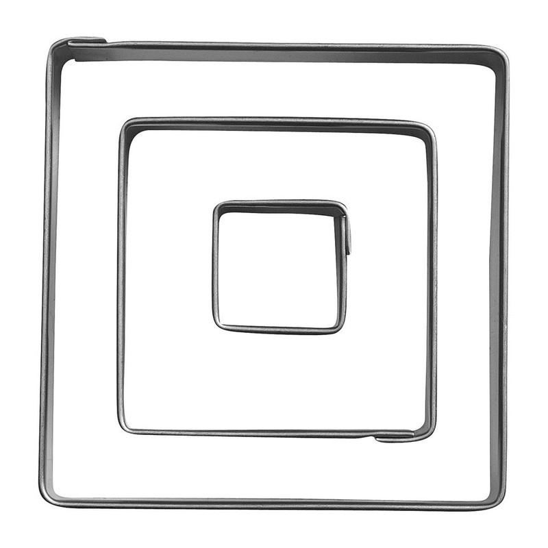 Uitsteekvormpjes RVS vierkant - set van 3