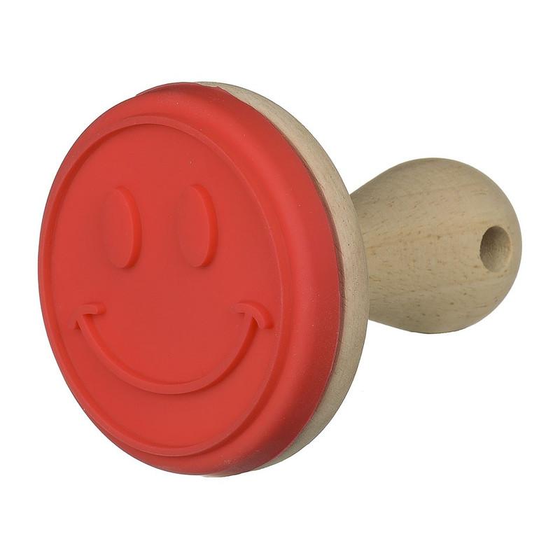 Koekjesstempel rood smiley 8 cm