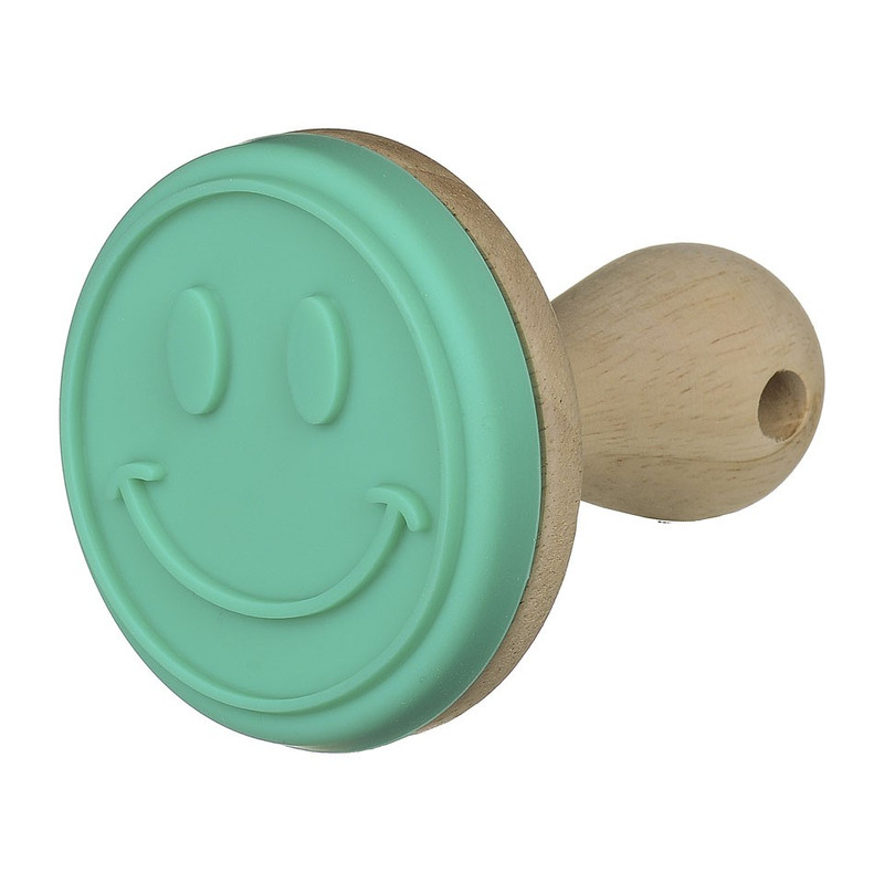 Koekjesstempel turquoise smiley 8 cm