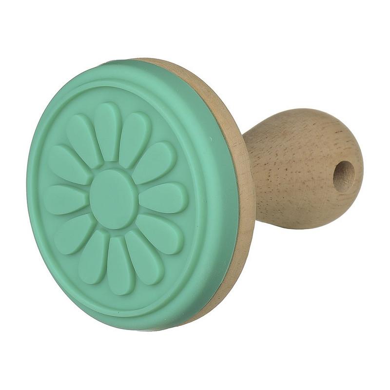 Koekjesstempel turquoise bloem 8 cm