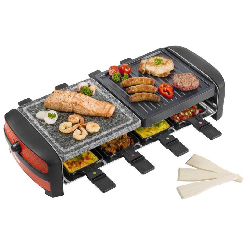 Bestron Raclette Grill met steen - 8 pannetjes - 1400W