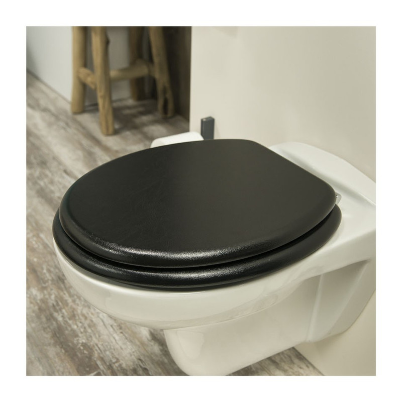 Tiger toiletzitting leatherlook - MDF - zwart
