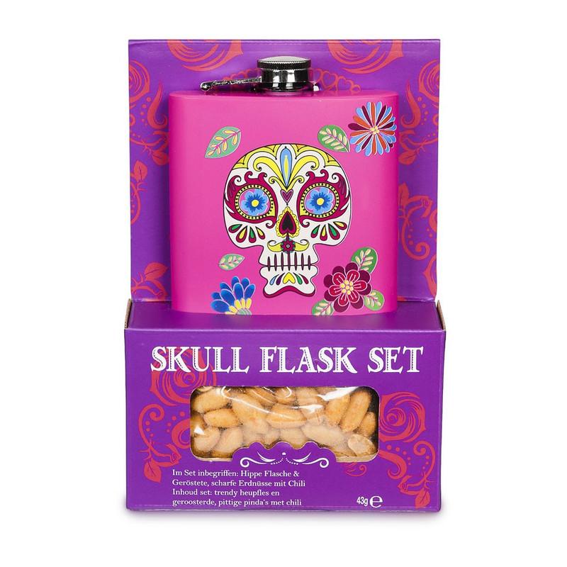 Veldfles skull met pinda's - roze
