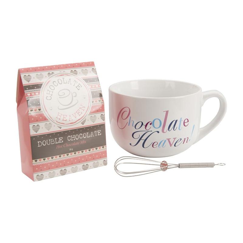 Cadeauset grote beker - chocolate heaven - roze