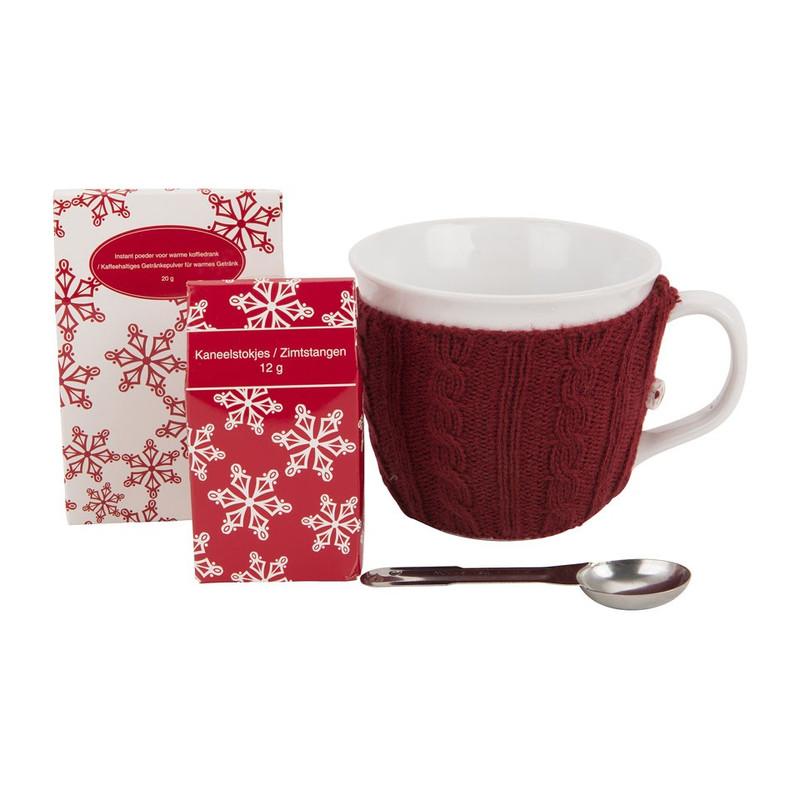 Mok met sweater – koffie - rood