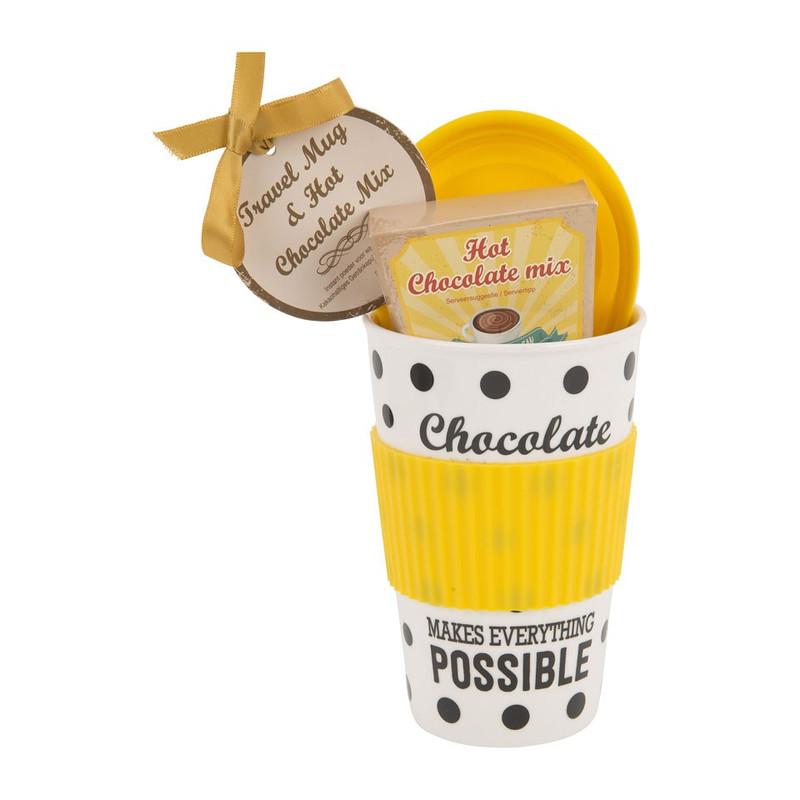 Travel mug chocolademelk - geel