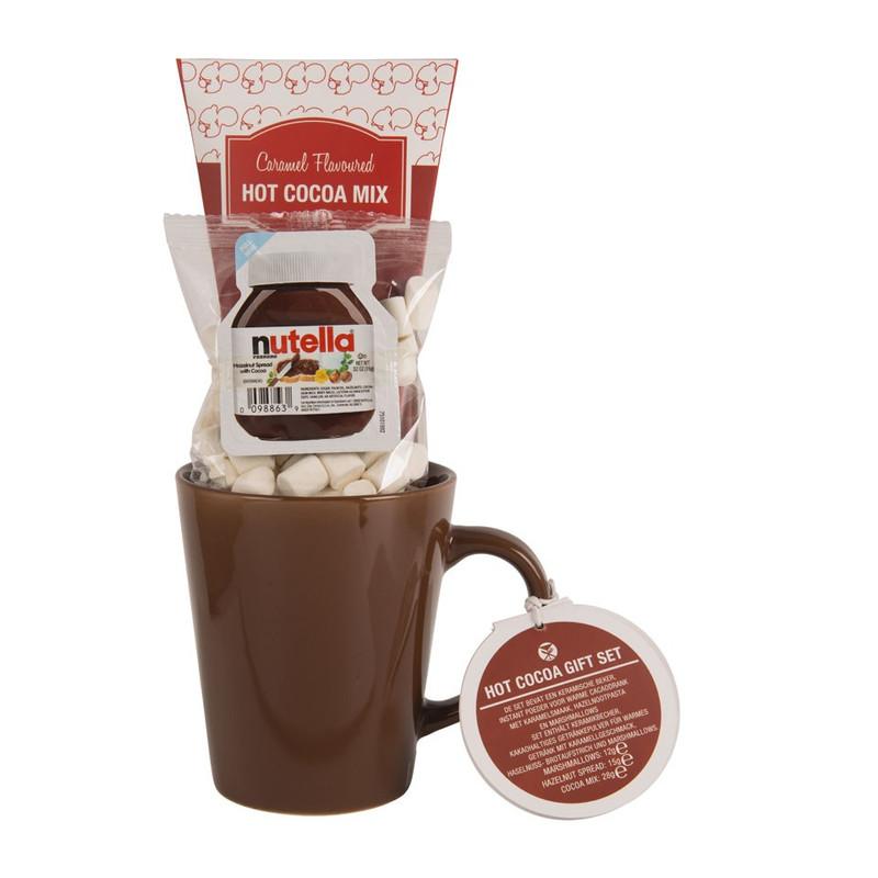 Cadeauset warme chocolademelk - bruine mok