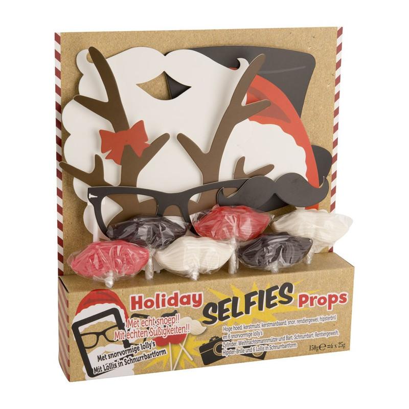Holiday selfie props met snoep