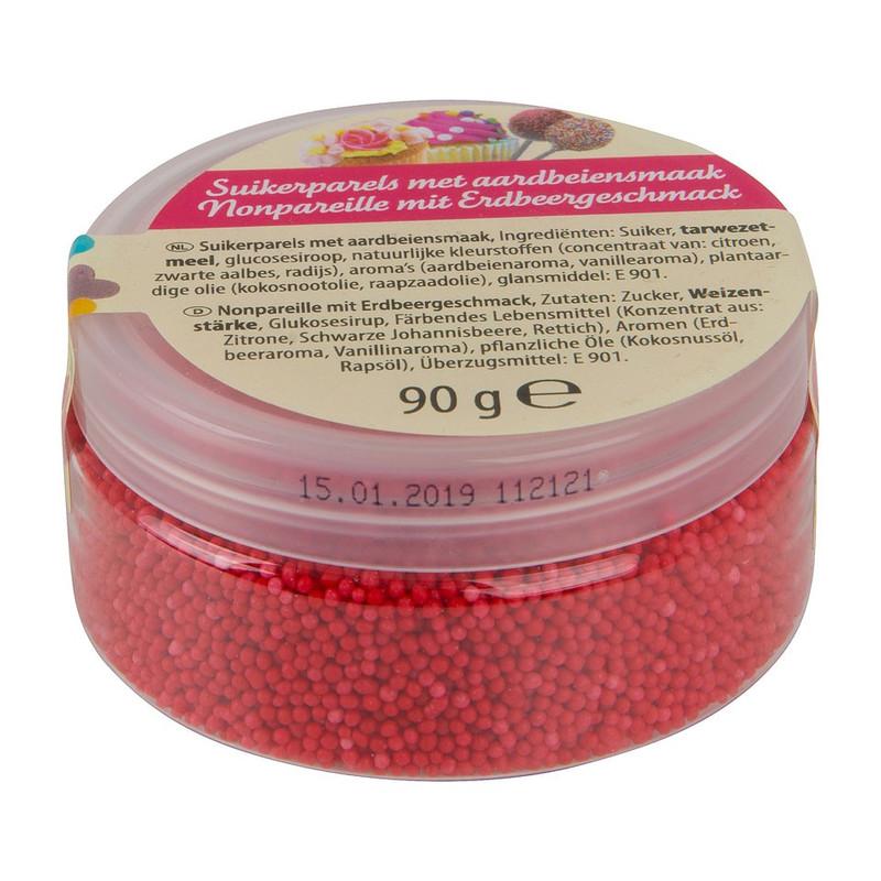Suikerparels - aardbei - 90 gram