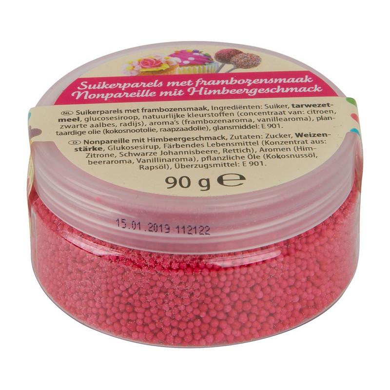 Suikerparels - framboos - 90 gram