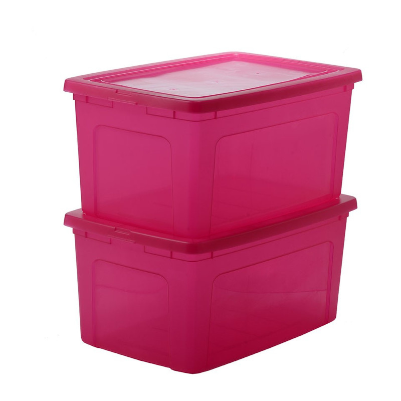 Iris clearbox - 50 liter - roze - set van 2