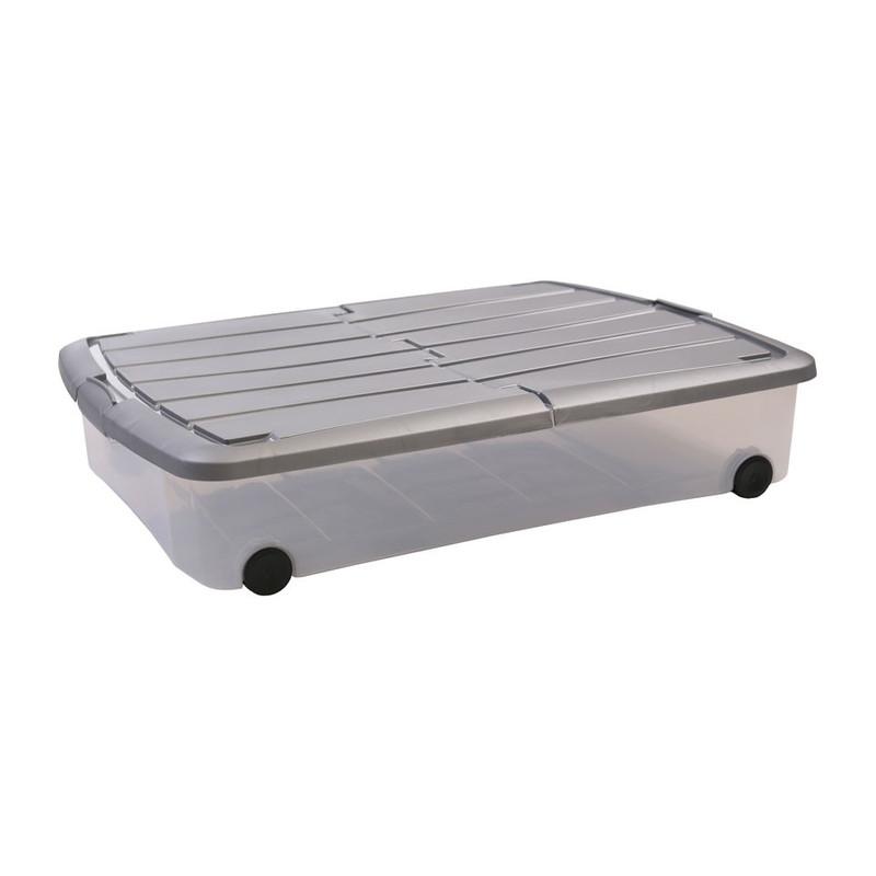 Iris onder-het-bedbox - 50 liter - transparant