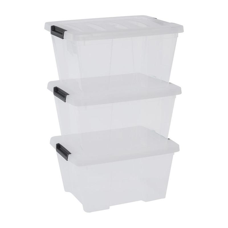 Iris clearbox - 45 liter  - transparant - set van 3