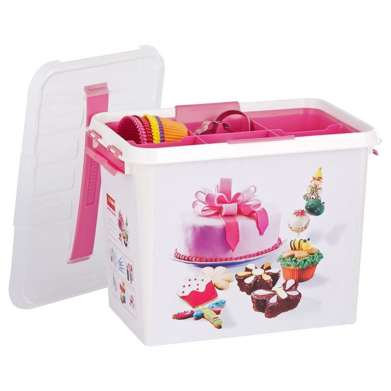 Sunware Q-line fun-baking opbergbox - 9 liter - wit/roze
