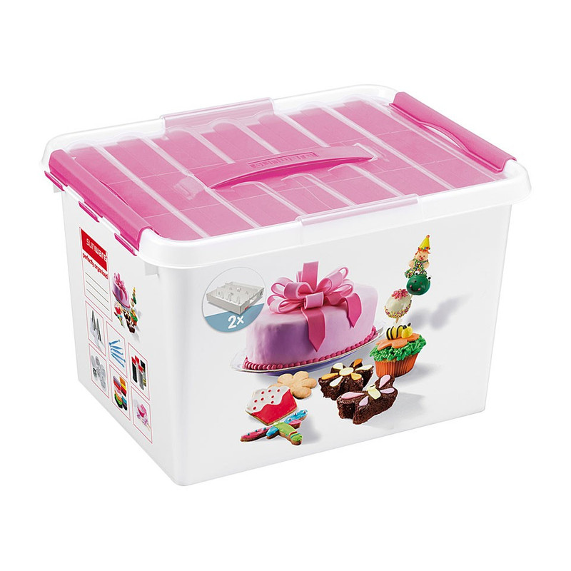 Sunware Q-line fun-baking opbergbox - 22 liter - wit/roze
