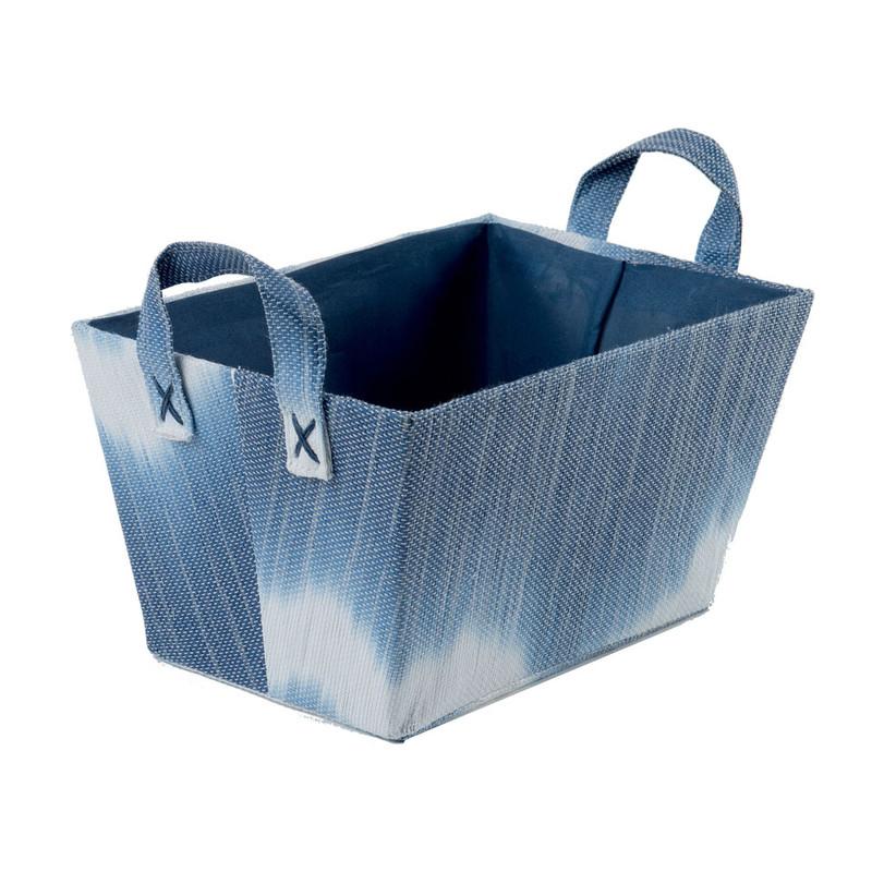Compactor mand tie & dye - blauw - 32,5x21,5x17,5 cm