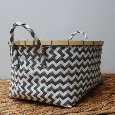 Compactor mand zigzag - grijs/wit - 41x32,5x20 cm