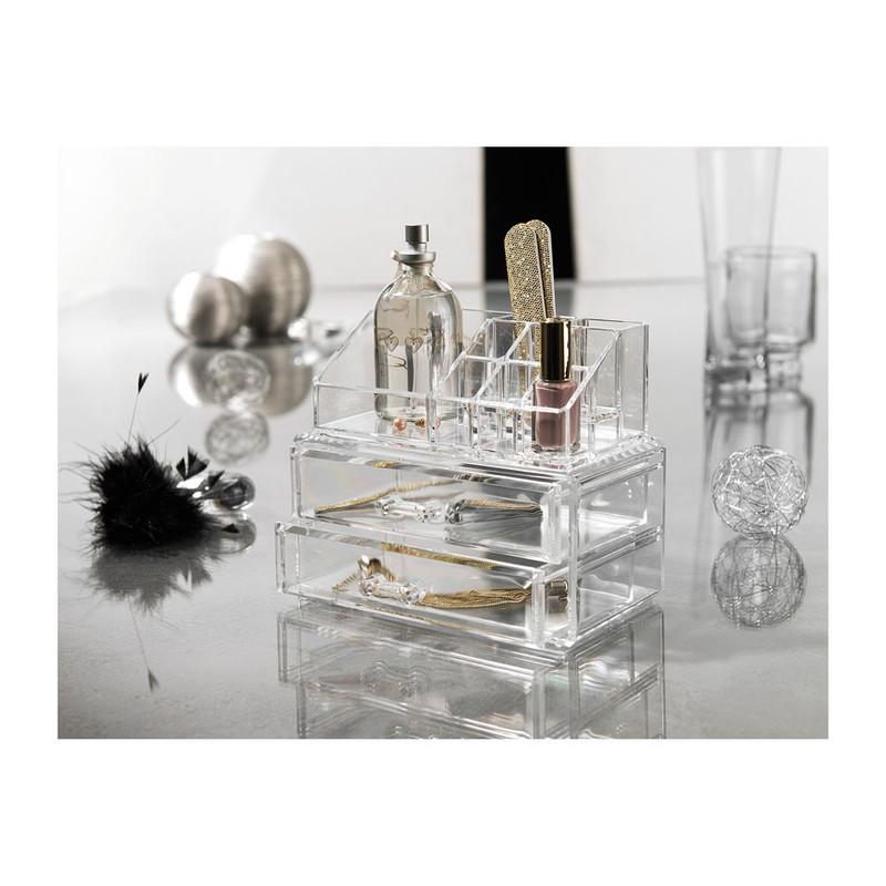 Compactor opbergbox voor cosmetica met 2 lades