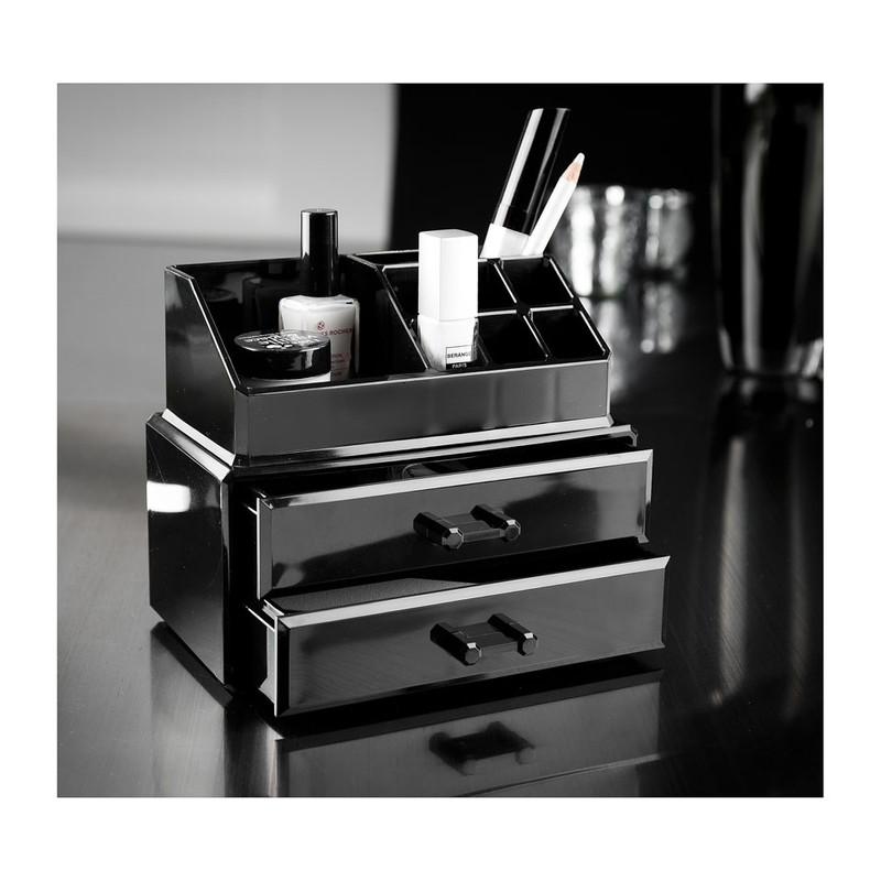 Compactor cosmeticabox - 2 lades - zwart
