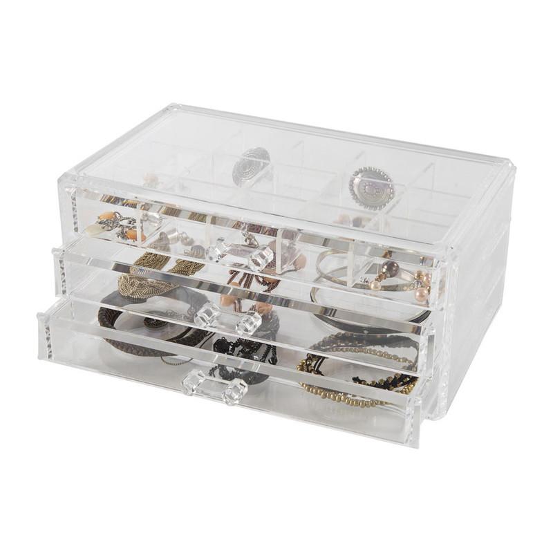 Compactor juwelen opberger - 15 vakken + 3 lades - helder
