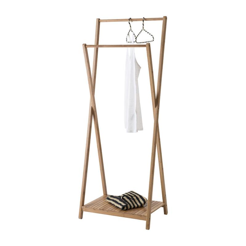 Compactor bamboe kledingrek X-vorm met legplank - bamboe