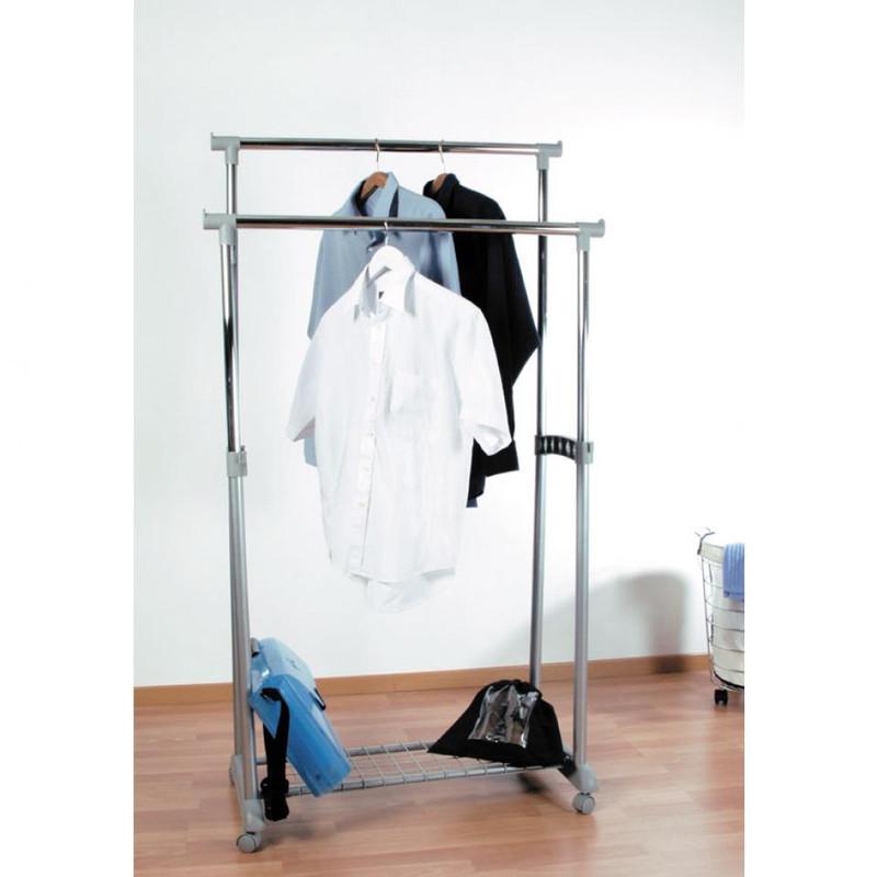 Compactor dubbel kledingrek met wieltjes - grijs