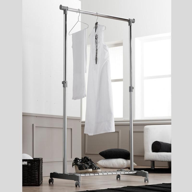 Compactor kledingrek met wieltjes en legplank - grijs