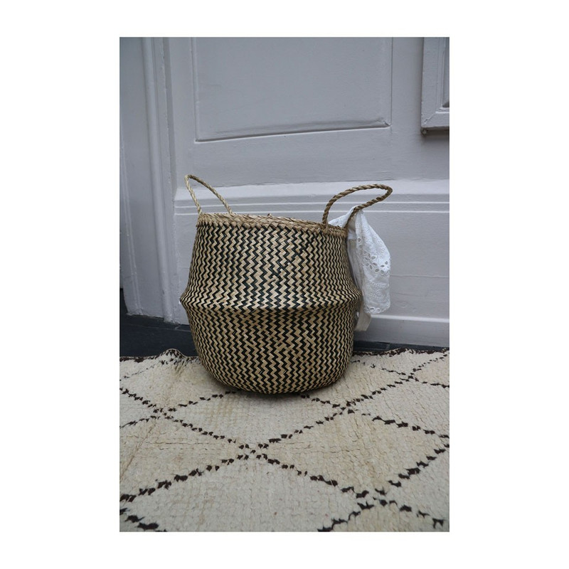 Buikmand zigzag geweven - 25x32 cm - beige/zwart